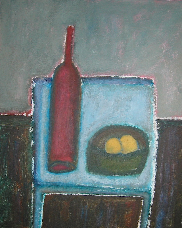 Red Bottle With Fruit